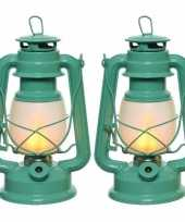 Set van 4x stuks turquoise blauwe led licht stormlantaarn 24 cm met vlam effect