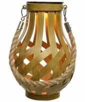 Solar lantaarn ijzer met vlam effect goud 18 5 cm