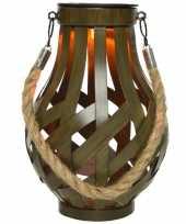 Solar lantaarn ijzer met vlam effect groen 18 5 cm