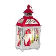 2x houten lantaarn windlicht kaarsenhouders wit 13 x 25 cm